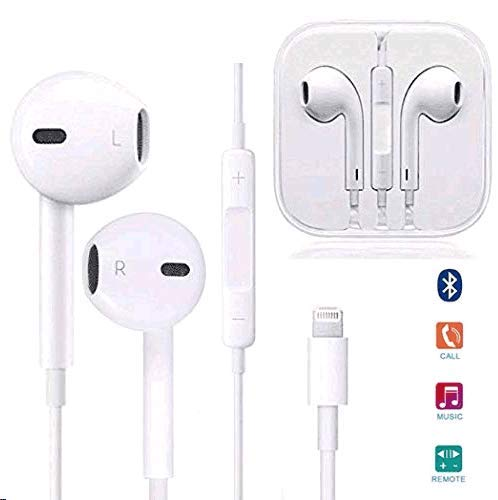 Aictoe Earbuds, Microphone Earphones Stereo Headphones HD Sound Bass Headset Fit Compatible with iPhone 8/8 Plus/ 7/7Plus/ X/XS/XS Max/XR (White) (White)