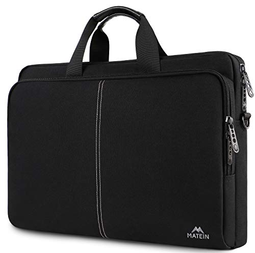 MATEIN 17.3 Inch Laptop Case, Slim Laptop Bag for Men Women, Casual Shoulder Carrying Bags Fit 17.3 17 15.6 Inches Laptops Notebook Computer for College School Office Business Travel Trip, Black