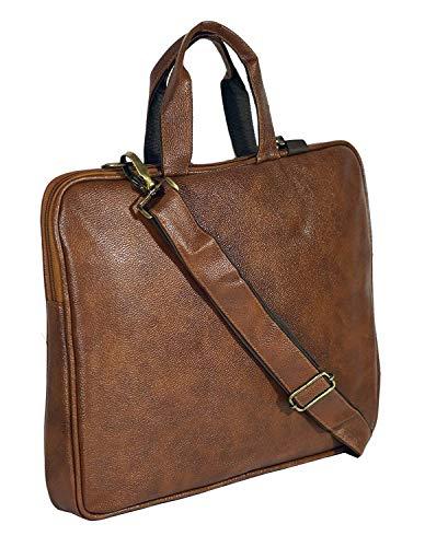 Storite PU Leather 15.6 inch Laptop Sleeve Shoulder Office Bag for Men & Women – (39 x 30 x 4 cm,Brown)