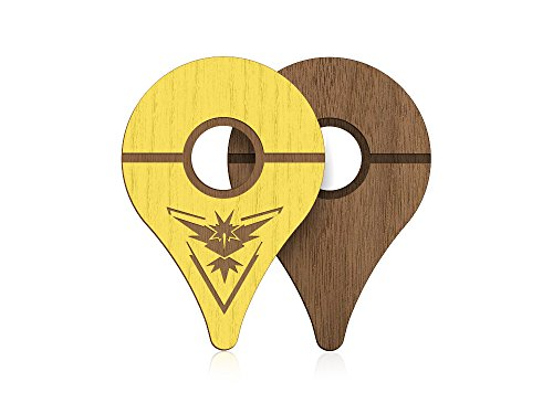 : PokeWares Shield Combo Set for Go Plus - Collect Them All - Slim Genuine Wood - Peel-N-Stick (Instinct Yellow Skin and Premium Walnut Skin)