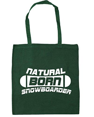 HippoWarehouse Natural Born Snowboarder Tote Compras Bolsa de playa 42cm x38cm, 10litros verde oscuro