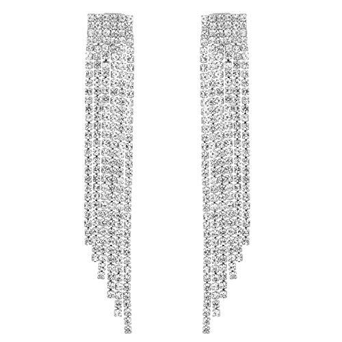 (Stylebar Long Tassel Earrings Fringe for Women Wedding Bridal Dangling Chain Crystal Girls Dangle Drop Earring Silver Tone)