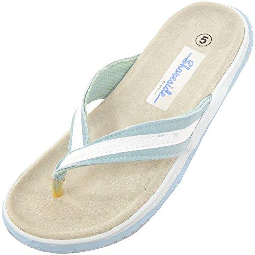 Chancletas de piel auténtica de mujer para playa, verano, vacaciones azul claro