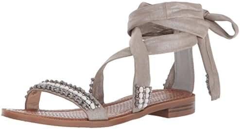 Nine West Women's Xoanna Synthetic Flat Sandal, Silver, 8.5 M US