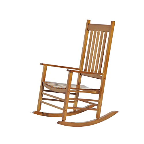 Natural Hardwood Porch Rocking Chair, Garden, Deck, Backyard, Wooden Armchair, Patio Rocker Chair - Indoor, Outdoor Furniture - 350 lbs Capacity