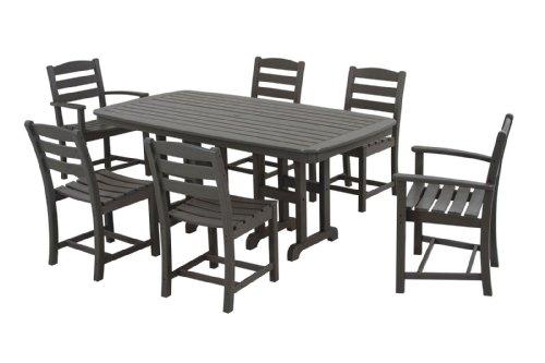 POLYWOOD PWS131-1-GY La Casa Café 7-Piece Dining Set, Slate Grey (7 Piece Gathering Set)