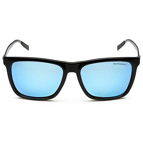 Rocknight Polarized Square Lightweight Full Frame Vintage Blue Mirrored Lens Aluminum Sunglasses - Sunglasses Party Rock