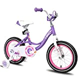 JOYSTAR 14 Inch Kids Bike with Training Wheels for 3 4 5 Years Old Girls, Toddler Cycle for Early Rider, Child Pedal Bike, Purple