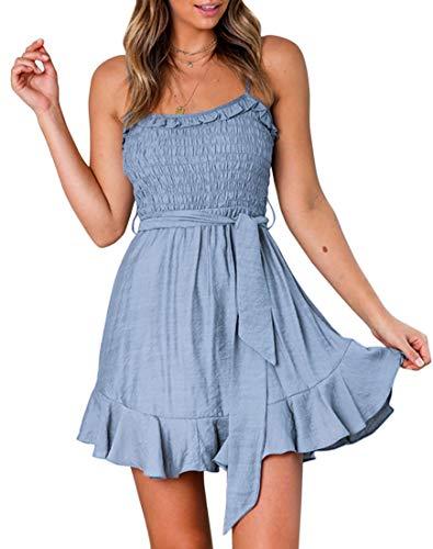 (YIBOCK Women's Summer Spaghetti Strap Solid Color Ruffle Hem Tie Waist Backless Mini Dress (Blue, M))
