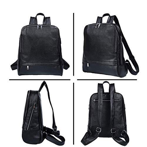 NSXBY Svart vattentät vardaglig ryggsäck för kvinnor för damer, mode läder lätt skolryggsäck