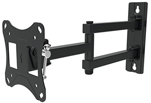 "Husky Mount Articulating tv Bracket Fits Most 10 – 27 inch Monitor LED LCD TVs with 4""x 4"" mounting Pattern Tilt Swivel Arm Full Motion TV Wall Mount.VESA 75X75, 100X100 Max 33 Lbs"