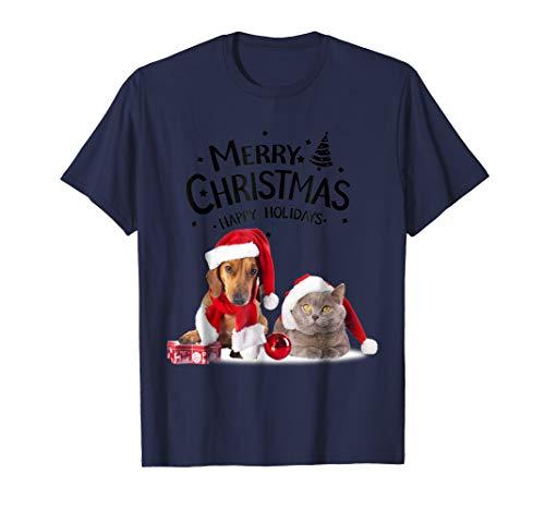 (Christmas Cat Dog Funny T Shirt Santa Hat Girls 3D Gift)