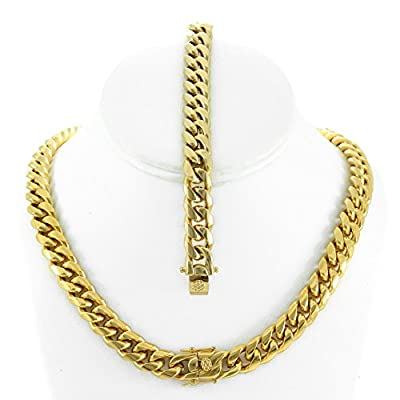 Solid 14k Yellow Gold Finish Stainless Steel 12mm Thick Miami Cuban Link Chain Box Clasp Lock from Bling Bling NY