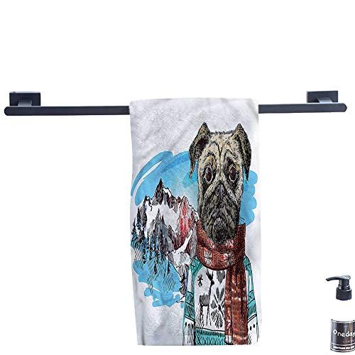 Dry Fast Towel,Pug,Sketch-Style-Dog-Doodle.,Gym Swim Hotel Use W 12