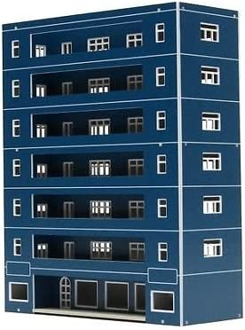 EatingBiting DIY 1:144 Blue 7F Outland Model Train Layout N Scale Apartment School Building for Sand Table Garden Micro Landscape Ornaments Decor Dormitory Dorm Assembling Scene Detail /& Realism
