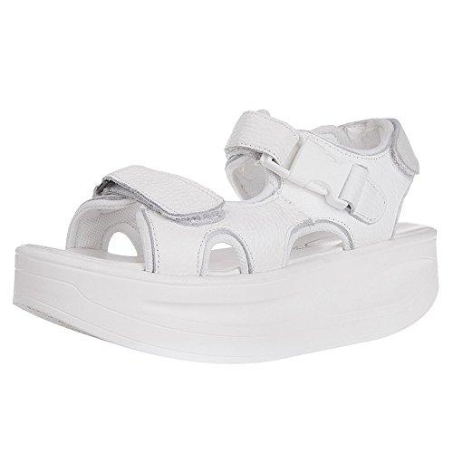 54cfc735 rismart Mujer Cuña Plataforma Correa De Tobillo Gancho Y Bucle Slingback  Paseo Cuero Sandalias Zapatos 70
