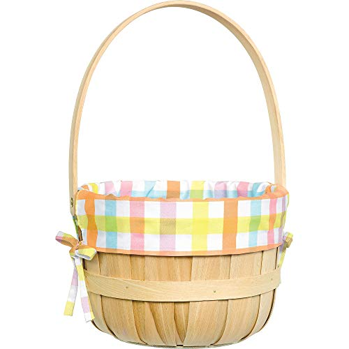 Amscan Round Pastel Plaid Liner Easter Basket 9 1/4 x 14 Inches]()