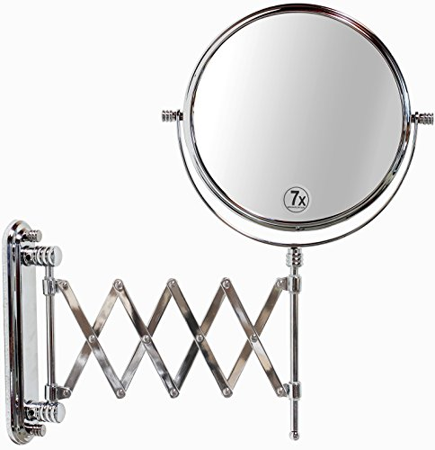 DecoBros 8-Inch Two-Sided Extension Wall Mount Mirror with 7x Magnification, 13.5-Inch Extension, -