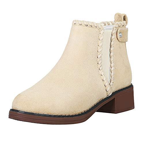 Stiefel Frauen Mode, Sonnena Einfarbige Keilschuhe Casual Martin Stiefel Rund Toe Stiefeletten Booties Klassische Low Heels Kurzstiefel Damenstiefel 35-40 Beige