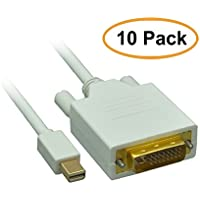 ACL 3 Feet Mini DisplayPort Male to DVI Male Video Cable, 10 Pack
