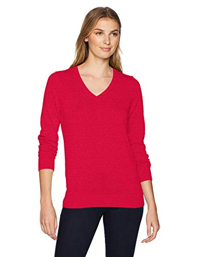 Amazon Essentials Women's Lightweight V-Neck Sweater, red, - Pullover Cotton V-neck