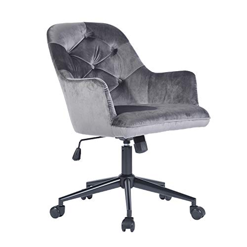 Homy Casa Office Chair Adjustable Upholstered Mid-Backrest Computer Desk Armchair Velvet Reception Chair for Home Executive Grey