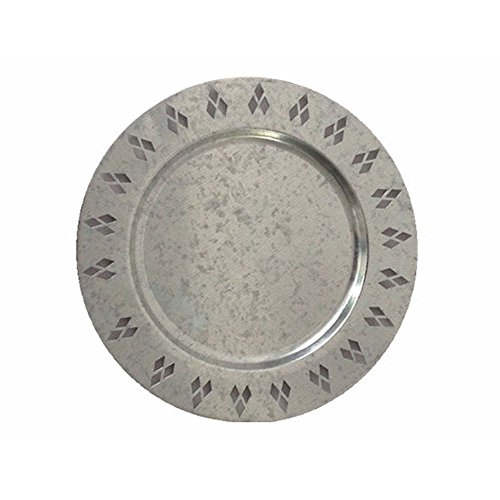 (WANDERBAL HOME Metal Round Charger Plate with Pattern Design Galvanized Finish 13'')