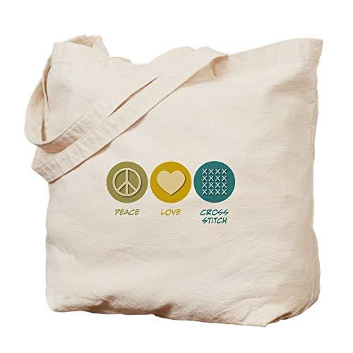 CafePress Peace Love Cross Stitch Natural Canvas Tote Bag, Cloth Shopping Bag