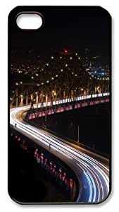 iPhone 4S Case and Cover -Bridge night lights long Exposure PC case Cover for iPhone 4 and iPhone 4s ¡§CBlack