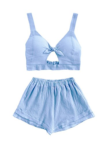 SheIn Women's V Neck Knot Front Crop Top 2 Pieces Outfits With Shorts Blue Small (Piece Cute 2 Set)