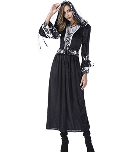 Dreamsoar Scary Devil Costume Ghost Bride Zombie & Halloween Cosplay Long Dress (Xena Amazon Costume)