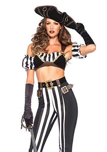 [Leg Avenue Women's Black Beauty Pirate Costume, Black/White, Small] (Ladies Black Pirate Costume)