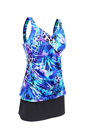 JINXUEER Women's Plus Size Swimwear Floral Tankini Set Ruched Modest Two Piece Skirt Swimsuit (Blue, - Suit Piece Bathing Two Skirted