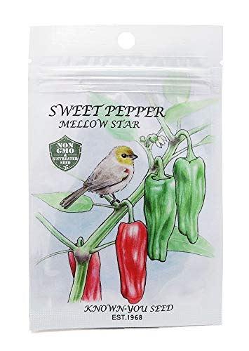 Non-GMO, Untreated Seeds, F1 Hybrid Sweet Pepper Seeds, Variety: Mellow Star (Best Sweet Pepper Varieties)