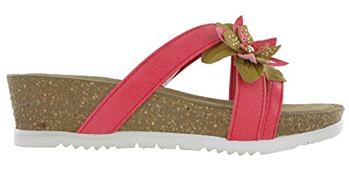 In Blu Glamour, Sandales Bride Cheville Femme Corail