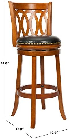 Safavieh Home Collection Baldwin Dark Oak and Black Leather Swivel 29-inch Bar Stool - a good cheap kitchen bar stool