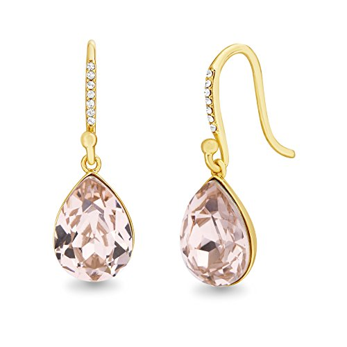 Devin Rose Teardrop Dangle French Wire Earrings for Women Made With Swarovski Crystal in Yellow Gold Plated 925 Sterling Silver (Vintage Rose)