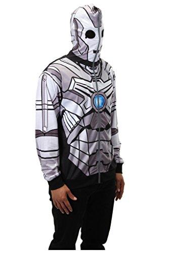 Cyberman Costumes Doctor Who (Elope Dr. Who: Cyberman Full Zip-Up Hoodie - Medium)
