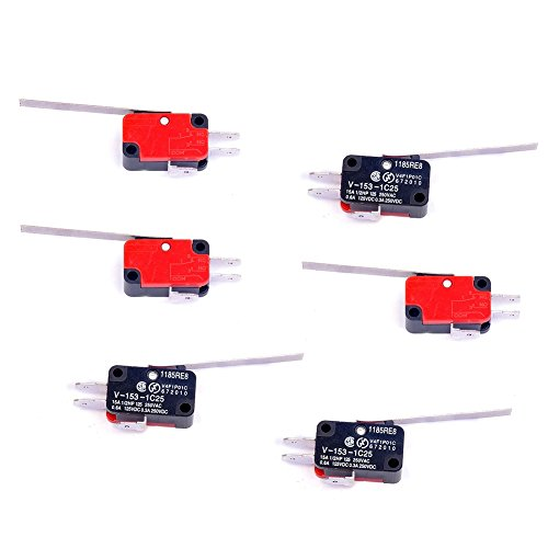 Cylewet 6Pcs V-153-1C25 Micro Limit Switch Long Straight Hinge Lever Arm SPDT Snap Action LOT for Arduino (Pack of 6) (Straight Hinges)