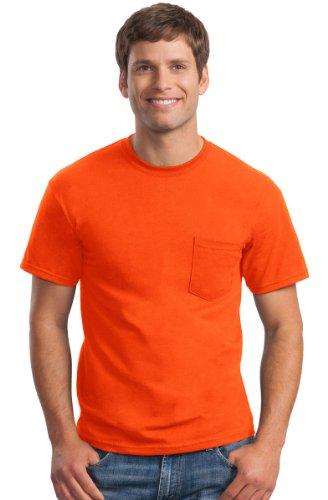 Gildan Ultra Cotton - Short-Sleeve T-Shirt with Pocket. 2300 - XX-Large - Safety Orange (Chest T-shirt Pocket Gildan)
