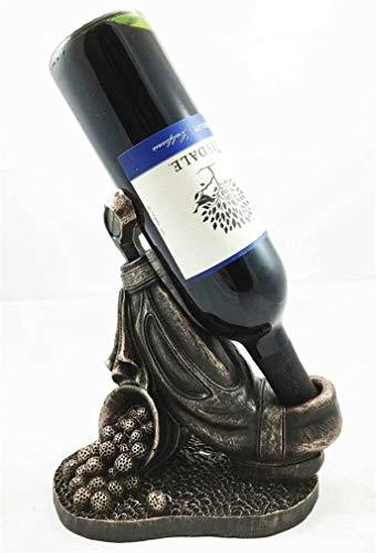 Ky & Co YesKela Golf Stand Bag Club and Balls Bronze Finish Resin Wine Bottle Holder Figurine