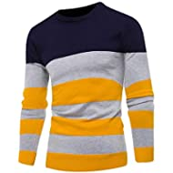 Ruhiku GW Men's Sweater, Casual Striped Printed Sweatshirts Crewneck Long Sleeve Pullover Blue...