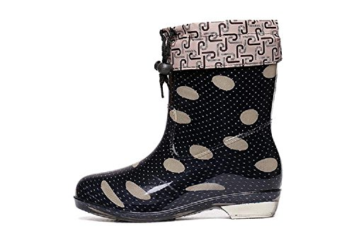 Autumn and winter ladies Korean dots rain boots Black 25c5Q