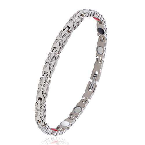 iZion Magnetic Therapy Bracelet Pain Relief for Arthritis Titanium Health Wristband Gift for Men Women with Free Link Removal Tool (Rose Gold)