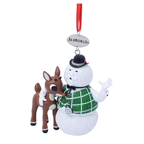 (SeaWorld Sam The Snowman with Rudolph Resin Ornament)