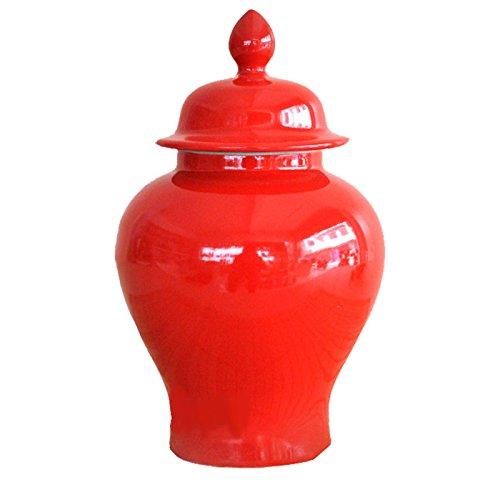 Red Glazed Porcelain Jar 23 X 13 X 13 Cm Height, Classic Asian Urn - 9