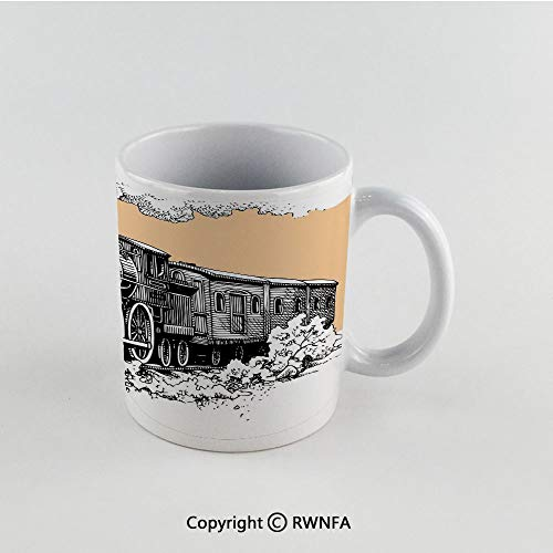 11oz Unique Present Mother Day Personalized Gifts Coffee Mug Tea Cup White Steam Engine,Vintage Wooden Train Rail Wild West Wagon in Countryside Drawing Effect Artsy,Peach White Funny Ceramic Coffee