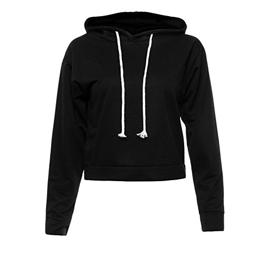 Moxeay Hoodie Sport Crop Top Sweatshirt Jumper Pullover Tops(S, Black 2510) - Le Top Jumper