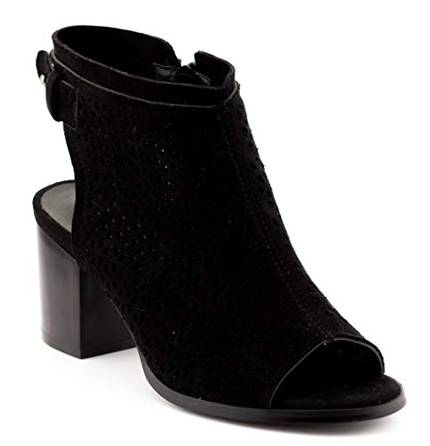 01 Peep Toe Ankle Booties Zip Fashion (10 US Black SU) ()