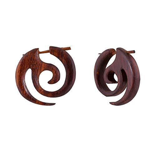 Crafted studio Women's Tibetan Antique Wooden Carved African Tribal Big Fake Gauge Earrings 1.4